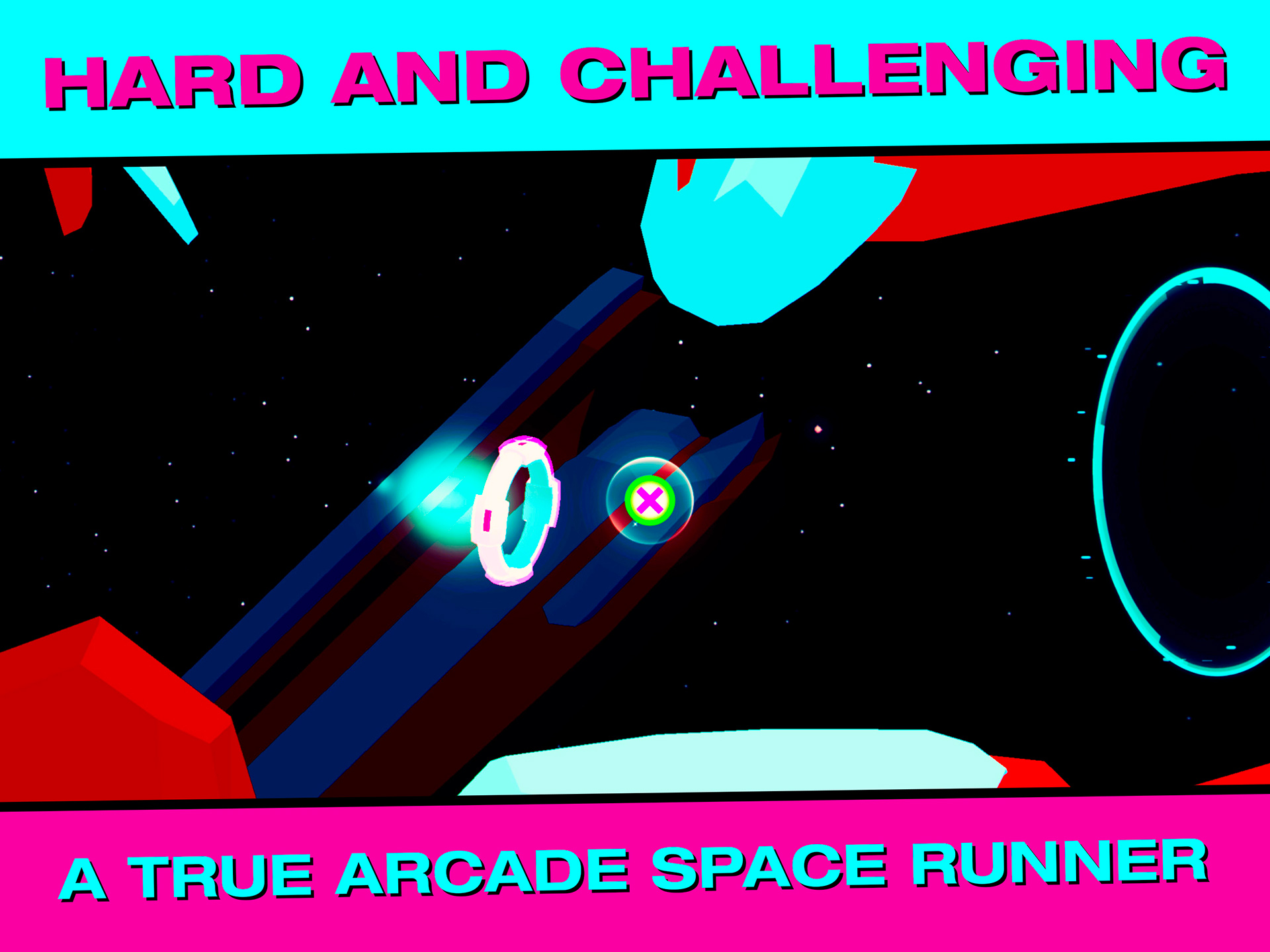 HARD AND CHALLENGING. A TRUE ARCADE SPACE RUNNER